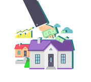 Invest in Real Estate Icon Flat Design Stock Photography