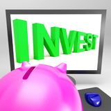 Invest Screen Shows Growing Stocks For Investor stock illustration