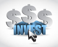 Invest sign illustration design Royalty Free Stock Photos