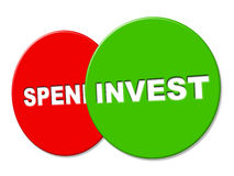 Invest Sign Represents Return On Investment And Advertisement Stock Photos