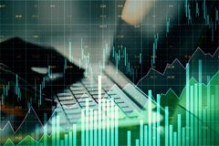 Invest and stats concept. Close up of hands using laptop with glowing forex chart on blurry background. Invest and stats concept. Multiexposure royalty free illustration