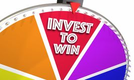 Invest to Win Game Show Wheel Stock Market Financial Advice. 3d Illustration Stock Photo