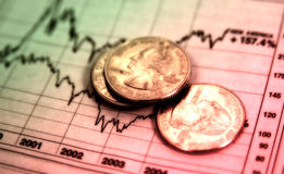 Invest Wisely. Photo of Stock chart and Quarters With Color and Blur Effect Royalty Free Stock Images