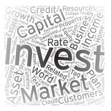 Invest ,Word cloud art background.  Royalty Free Stock Photos