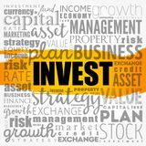 Invest word cloud collage royalty free stock photo
