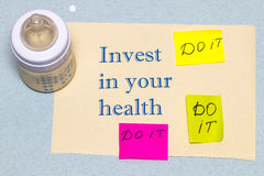 Invest in your health - the concept of a healthy lifestyle Royalty Free Stock Image