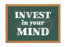 Invest in your mind chalkboard notice Vector illustration stock illustration