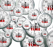 Invest Your Time Many Clocks Competing Priorities Jobs Tasks. Invest Your Time on many clocks bombarding you to devote energy and resources on tasks, jobs Stock Photo