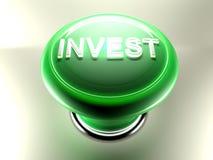Investa il pulsante verde - la rappresentazione 3D Immagini Stock Libere da Diritti