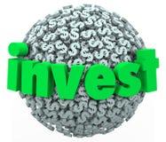 Investa il risparmio dell'obbligazione 401K del mercato azionario della sfera del simbolo di dollaro di parola Immagini Stock