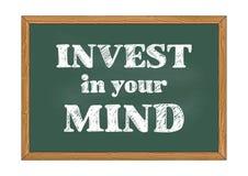 Investa nella vostra illustrazione di vettore dell'avviso della lavagna di mente illustrazione di stock