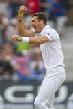 The Investec Ashes First Test Match Day One. NOTTINGHAM, ENGLAND - July 10, 2013: England's Steven Finn celebrates taking the wicket of Ed Cowan during day one royalty free stock photos