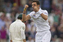 The Investec Ashes First Test Match Day One. NOTTINGHAM, ENGLAND - July 10, 2013: England's Steven Finn celebrates taking the wicket of Ed Cowan during day one royalty free stock photo
