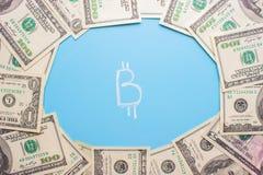 Investeer in bitcoinconcept stock afbeeldingen
