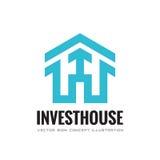 Investeer huis - vector het conceptenillustratie van het bedrijfsembleemmalplaatje Abstract de bouwhuis en pijlteken De huizen va Stock Afbeeldingen