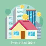 Investeer in Landgoed Gebouwde Bureaus, Flats, Huizen stock illustratie