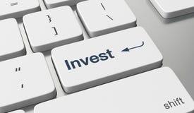 Investeer online geld stock foto's