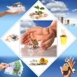 Investeer in onroerende goederen. Bedrijfs collage. Stock Afbeelding