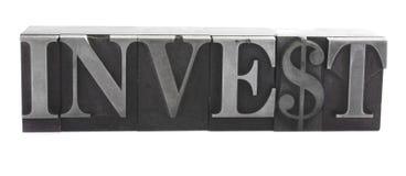 ?investeer? in oud metaaltype royalty-vrije stock foto's