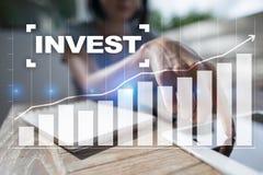 Investeer Rendement van investering Financiële Growth Technologie en bedrijfsconcept stock afbeeldingen