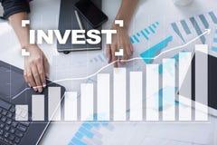 Investeer Rendement van investering Financiële Growth Technologie en bedrijfsconcept royalty-vrije stock afbeelding