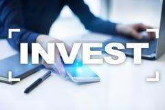 Investeer Rendement van investering Financiële Growth Technologie en bedrijfsconcept stock foto