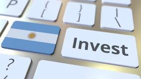 INVESTEER tekst en vlag van Argentinië op de knopen op het computertoetsenbord De zaken brachten conceptuele 3D animatie met elka vector illustratie