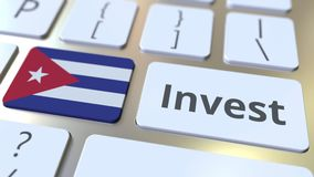 Investeer tekst en vlag van Cuba op de knopen op het computertoetsenbord De zaken brachten conceptuele 3D animatie met elkaar in  royalty-vrije illustratie