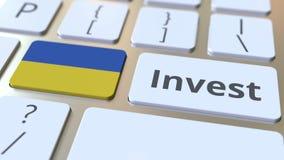 INVESTEER tekst en vlag van de Oekraïne op de knopen op het computertoetsenbord De zaken brachten conceptuele 3D animatie met elk stock illustratie