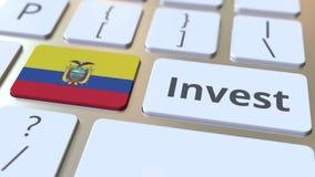 Investeer tekst en vlag van Ecuador op de knopen op het computertoetsenbord De zaken brachten conceptuele 3D animatie met elkaar  royalty-vrije illustratie