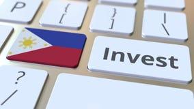 INVESTEER tekst en vlag van Filippijnen op de knopen op het computertoetsenbord De zaken brachten conceptuele 3D animatie met elk stock illustratie