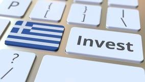 Investeer tekst en vlag van Griekenland op de knopen op het computertoetsenbord De zaken brachten conceptuele 3D animatie met elk vector illustratie