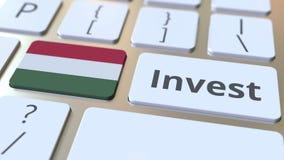 Investeer tekst en vlag van Hongarije op de knopen op het computertoetsenbord De zaken brachten conceptuele 3D animatie met elkaa vector illustratie