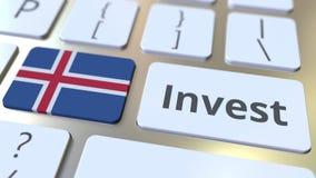 INVESTEER tekst en vlag van IJsland op de knopen op het computertoetsenbord De zaken brachten conceptuele 3D animatie met elkaar  vector illustratie