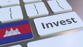 Investeer tekst en vlag van Kambodja op de knopen op het computertoetsenbord De zaken brachten conceptuele 3D animatie met elkaar vector illustratie