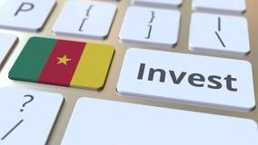 Investeer tekst en vlag van Kameroen op de knopen op het computertoetsenbord De zaken brachten conceptuele 3D animatie met elkaar vector illustratie