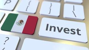 INVESTEER tekst en vlag van Mexico op de knopen op het computertoetsenbord De zaken brachten conceptuele 3D animatie met elkaar i stock illustratie