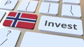 INVESTEER tekst en vlag van Noorwegen op de knopen op het computertoetsenbord De zaken brachten conceptuele 3D animatie met elkaa vector illustratie