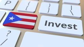 INVESTEER tekst en vlag van Puerto Rico op de knopen op het computertoetsenbord De zaken brachten conceptuele 3D animatie met elk stock videobeelden