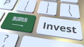 INVESTEER tekst en vlag van Saudi-Arabië op de knopen op het computertoetsenbord De zaken brachten conceptuele 3D animatie met el stock videobeelden