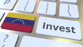 INVESTEER tekst en vlag van Venezuela op de knopen op het computertoetsenbord De zaken brachten conceptuele 3D animatie met elkaa stock illustratie