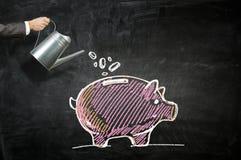 Investeer uw geld om inkomen te krijgen Gemengde media stock foto