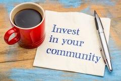 Investeer in uw gemeenschap royalty-vrije stock afbeelding