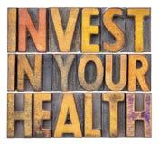 Investeer in uw gezondheidsconcept stock afbeelding