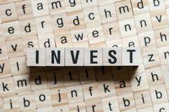 Investeer Word Concept royalty-vrije stock foto