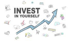 Investeer in zich Blauwe Pijl met Pictogrammen vector illustratie
