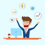 Investeerderskarakter Zakenman die aan bureaucomputer met financiële pictogrammen werken Stock Foto