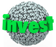 Investera besparingar för förbindelsen 401K för aktiemarknaden för sfären för orddollartecknet Arkivbilder