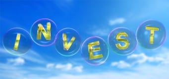 Investeraordet i bubbla stock illustrationer