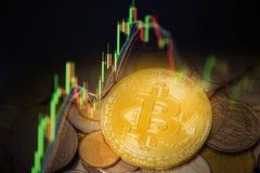 Investering för guld- mynt för Bitcoin handelforex - diagram för affärsgraf av den finansiella handeln för framtid för brädeskärm royaltyfria foton
